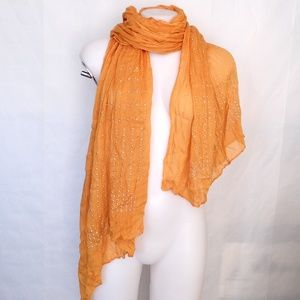 Accessories - Mustard Yellow Silver Studded Rayon Scarf